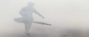 Man carrying out fogging